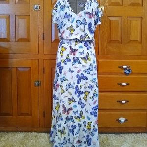 Old Navy white butterfly ruffle maxi dress TALL